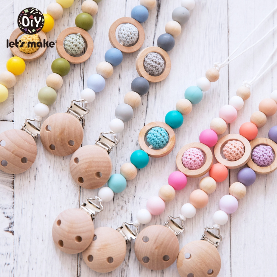 Let's Make 1pc Wooden Nipple Holder Clip Chain Silicone Beads Crochet Beads Baby Teether Wooden Teether Soother Pacifier Clips