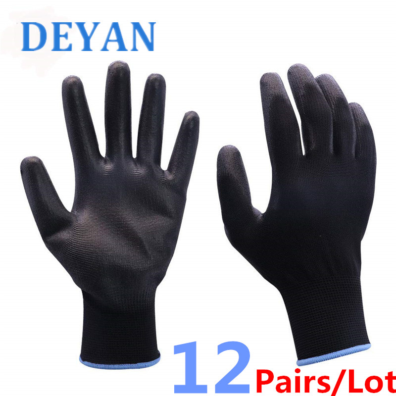 12 Pairs/Lot PU Work Gloves PU Palm Coating Safety Antistatic Gardening Gloves