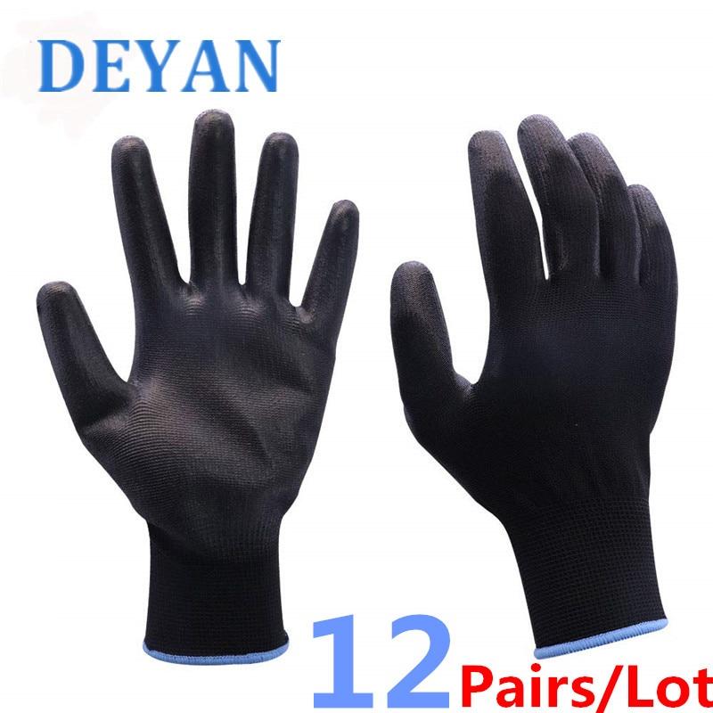 12 Pairs/Lot PU Work Gloves PU Palm Coating Safety Antistatic Gardening Gloves