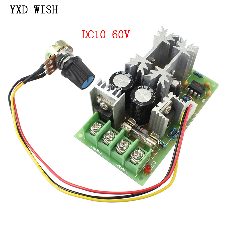 PWM DC Motor Speed Controller Switch DC 20A Current Voltage Regulator 10-60V PWM High Power Drive Module 60A 12V 24V 36V 48V