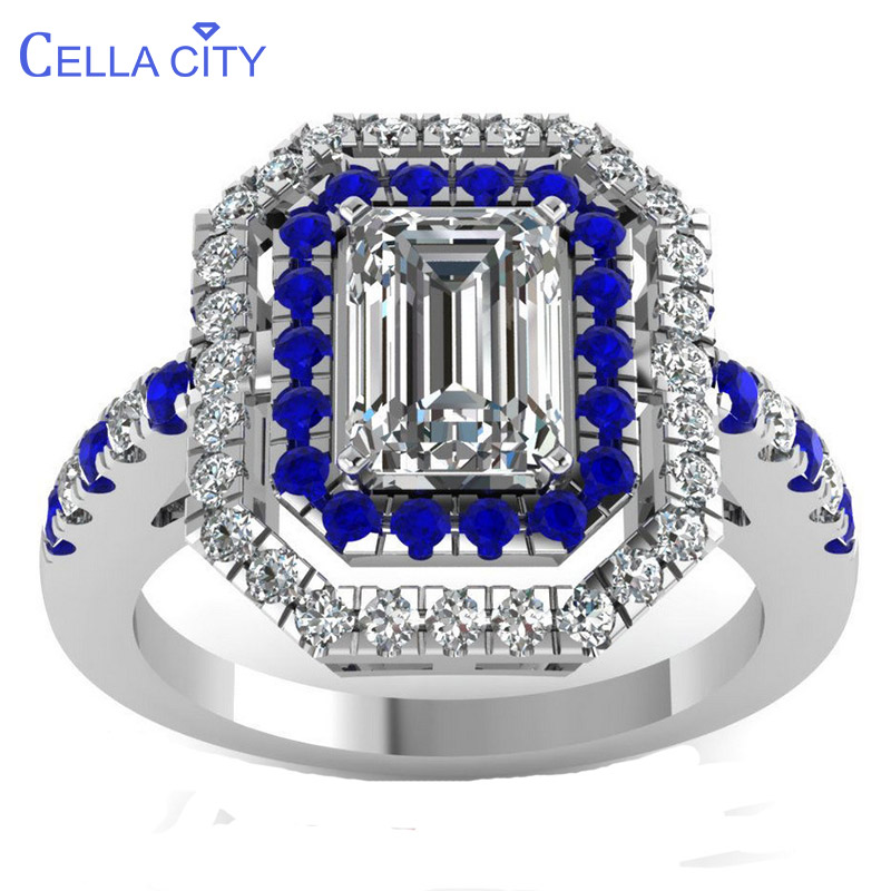 Cellacity Classic Silver 925 Ring For Charm Women With Rectangle Zircon Sapphire Gemstones  Fine Jewelry Anniversary Gift