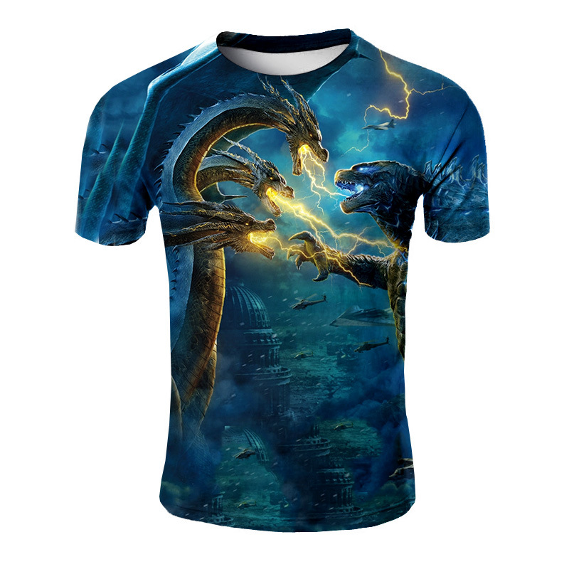 2019 Summer New Style Movie Godzilla Theme Short-sleeved Top Fashion Casual Versatile Printed 3DT T-shirt