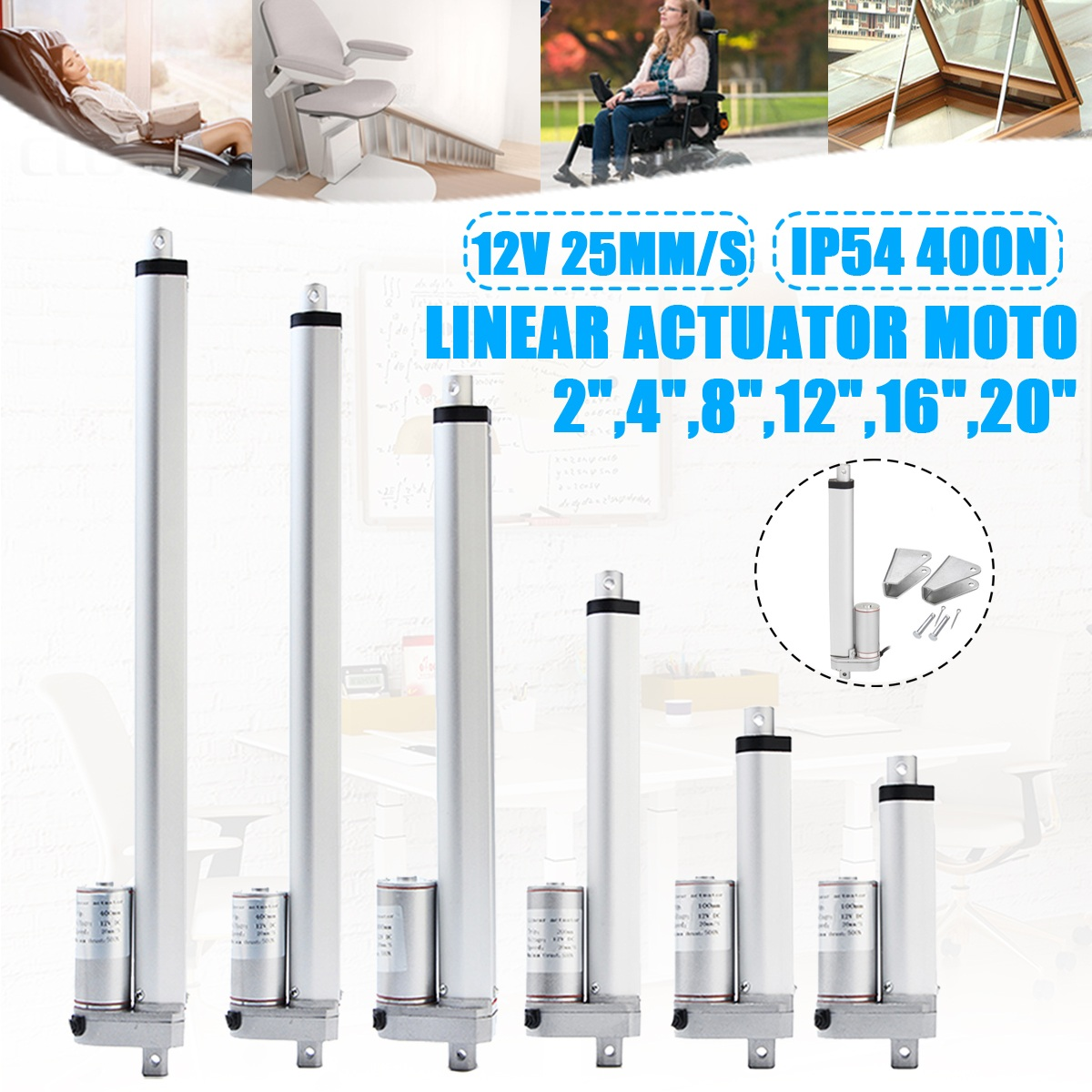IP54 2-20 Inch 400N <font><b>12V</b></font> <font><b>25mm</b></font>/s Small DC <font><b>12V</b></font> Electric <font><b>Motor</b></font> Linear Actuator For lectric Self Unicycle Scooter Input Voltage Range image