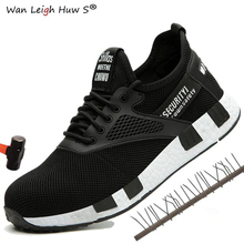 Wan Leigh Huw S brand steel toe cap men women work & safety boots summer lightweight impact resistant male shoes plus size 36-47