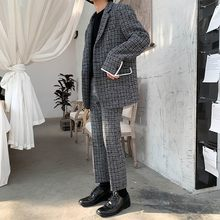 Koreaanse Casual Mens Plaid Tweedelige Pakken Lange Mouwen Single Breasted Revers Gemengde Kleuren Losse Blazer Straight Enkellange Broek(China)
