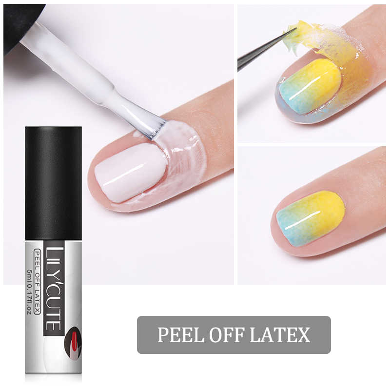 Lilycute 5 Ml Putih Peel Off Cair Tape Bebas Bau Kuku Edge Perawatan Kulit Tahan Dingin Nail Art gel Varnish Manikur Alat