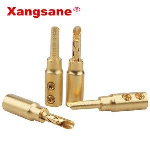 Image 2 - 8 adet 50 adet 100 adet Xangsane saf bakır kum kaplama altın muz fişi hifi hoparlör kablosu konektörü ücretsiz lehimleme ses konektörü