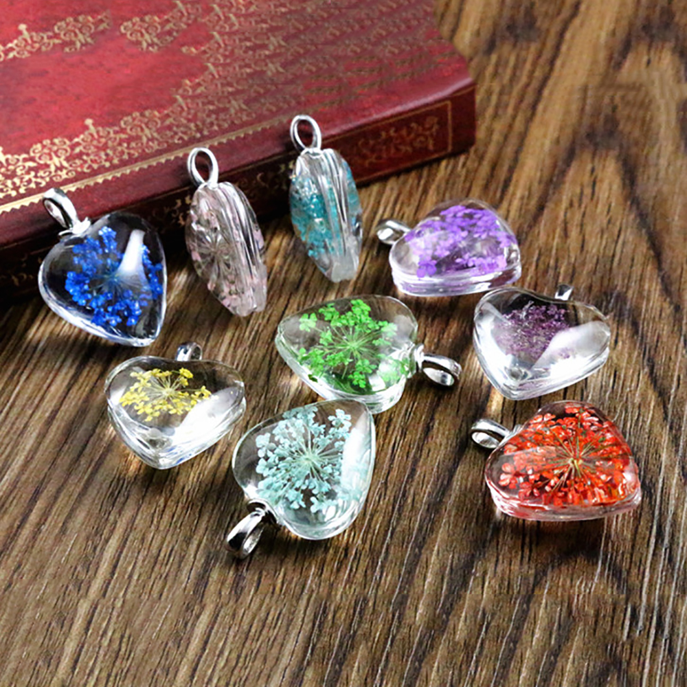 5pcs 27x20mm Hot sale Jewelry Crystal Glass Real Dried Flower Heart Necklace Pendant; Necklaces For Women -M7-19