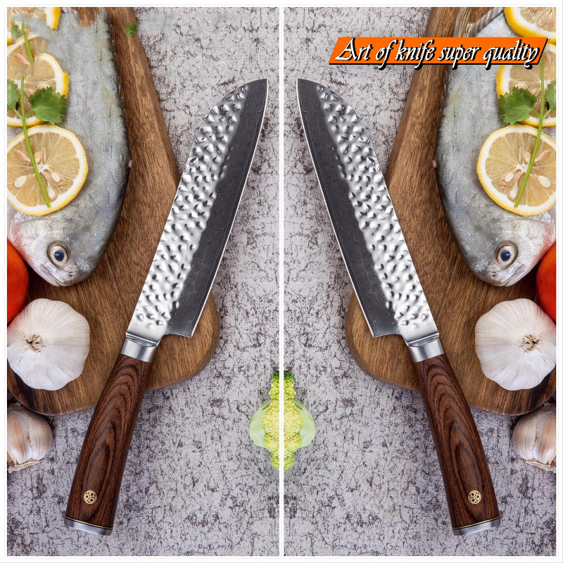 GRANDSHARP couteau de cuisine damas vg10 couteau Santoku japonais damas acier inoxydable outil de cuisine professionnel du Chef coffret cadeau - 2