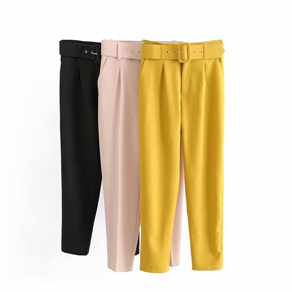 LITTHING 2019 Black Suit Pants Woman High Waist Pants Sashes Pockets Office Ladies Pants Fashion Middle Aged Pink Yellow Pants thumbnail