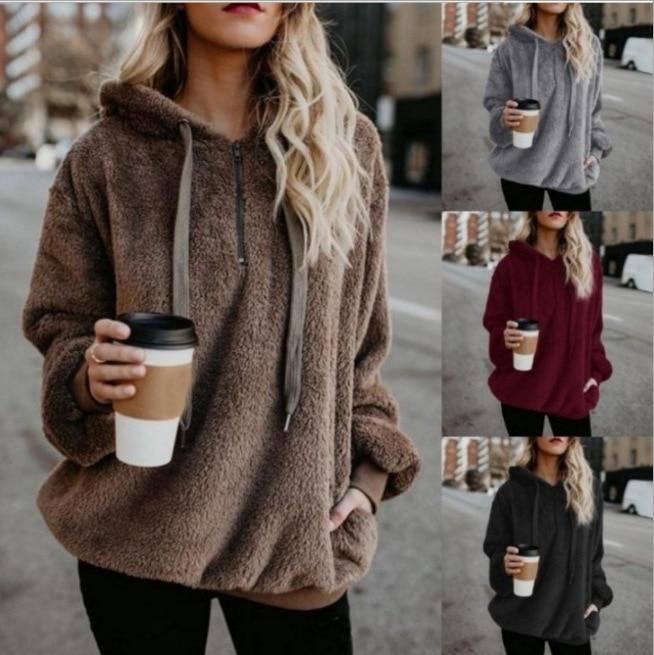 Winter Warm Casual Double Fuzzy 1/4 Zip Sweatshirt Faux Fleece Pocket Long Sleeve Oversize Sherpa Pullover Hoodies Coat Outwear
