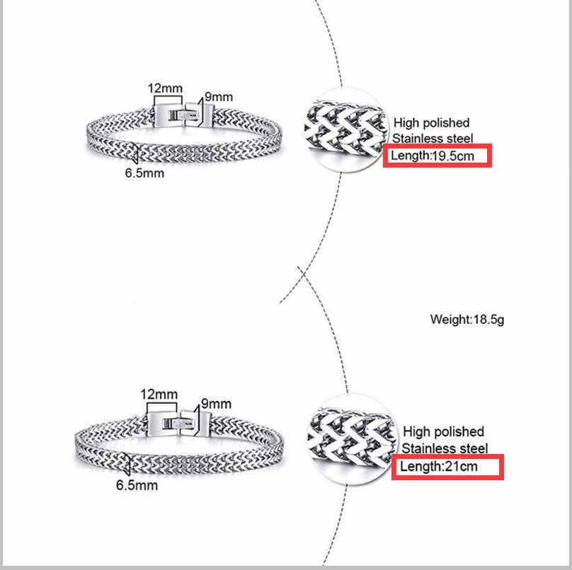 Erstaunliche Preis Stilvolle Edelstahl Silverly Bali Fuchsschwanz Kette Armband für Männer Doppel Link Kette Armbänder Männlichen Schmuck
