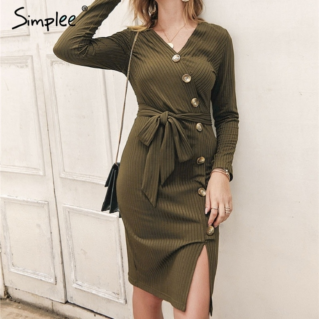 Simplee Sexy sheath women party dress High waist v neck single breasted winter dress Long sleeve lady autumn work wear vestidos