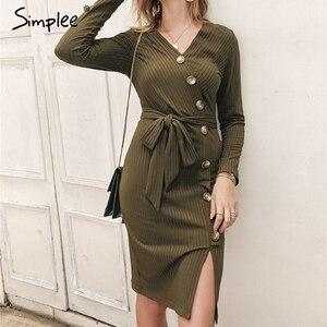 Image 1 - Simplee סקסי נדן נשים המפלגה שמלה גבוהה מותן v צוואר יחיד חזה חורף שמלה ארוך שרוול ליידי סתיו עבודה ללבוש vestidos