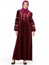 Islamic Clothing Elegant Velvet Muslim Dress Women Embroidery Big Swing A-line Maxi Party UAE Jubah Robe Abaya Hijab Dresses(China)