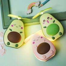 Mini Fan Multifunctional 2 In 1 LED Makeup Mirror And Fan Cute Avocado Shaped Practical Portable USB Charging Fan