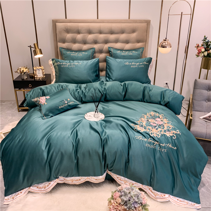 New 60S American Style Flower Embroidery Washed Silk Soft Bedding Set Duvet Cover Bed Linen Fitted Sheet Pillowcases for Summer
