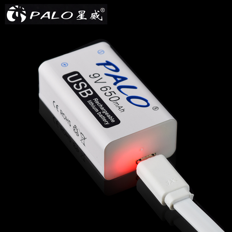 Palo 9v usb baterias de lítio bateria recarregável 650mah 9v bateria usb para walkie talkie massager doméstico detector metal