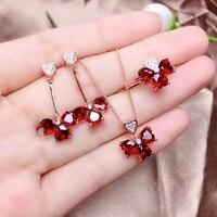 Exquisite Mode Vier-leaf Clover Halskette Ohrringe Ring Rot Zirkon Liebe Herz Form Damen Schmuck Set