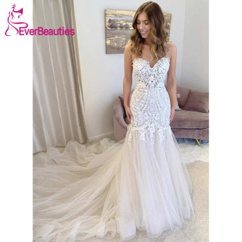 Vestido De Noiva Mermaid Wedding Dresses 2020 Boho Bridal Dress Tulle Appliques Robe De Mariee Beach Bohemian свадебное платье