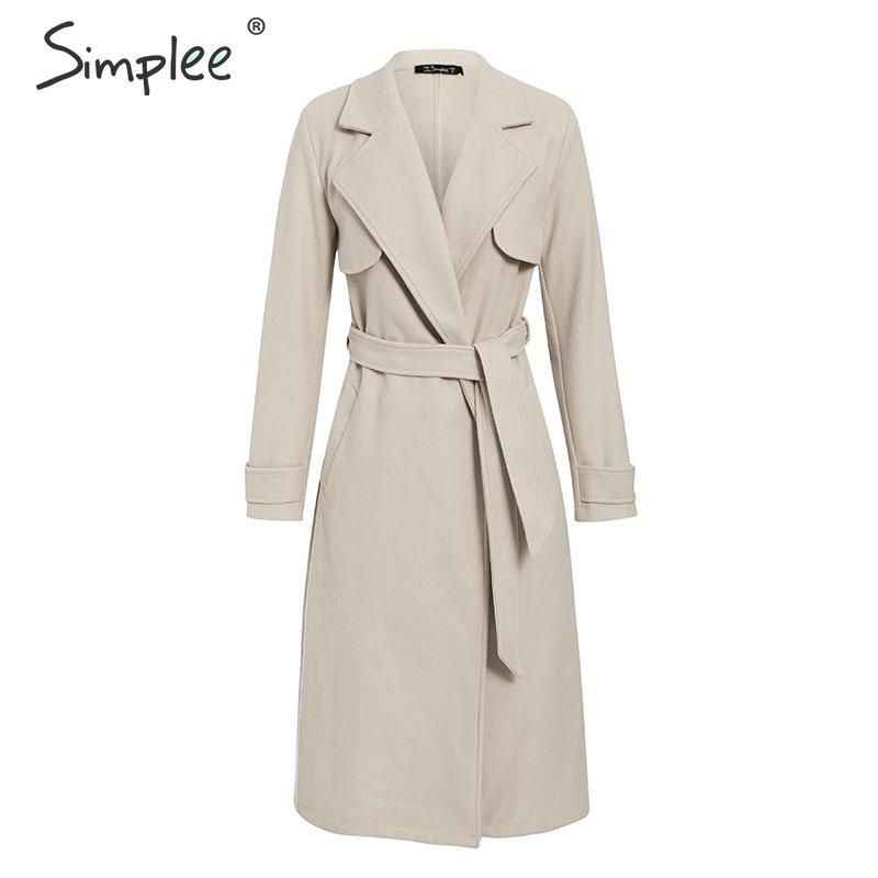 Simplee Wool blend winter tweed coat women Long sleeve elegant sash belt female outwear coat Autumn winter streetwear coat 9