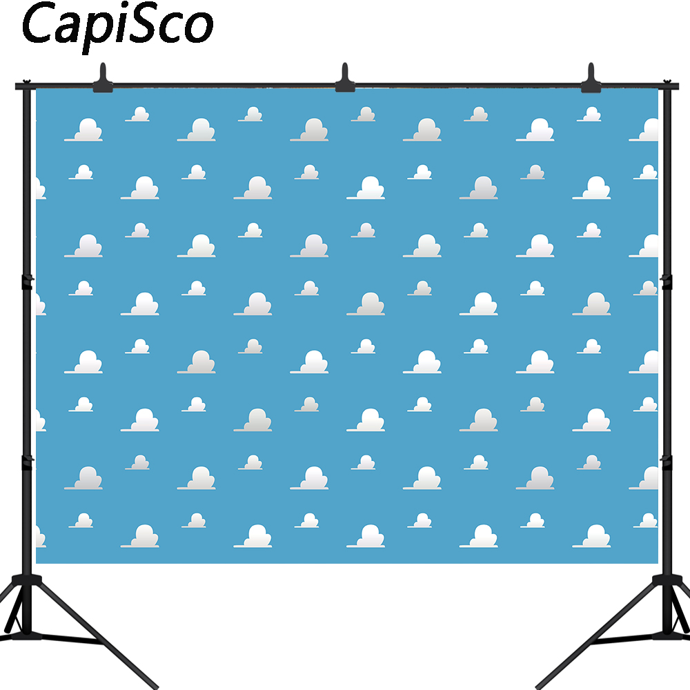 Capisco Blue Sky Clouds Backdrop Cartoon Kids Birthday Party Decorations Toy Story Photo Booth Background Dessert Table Banner earrings