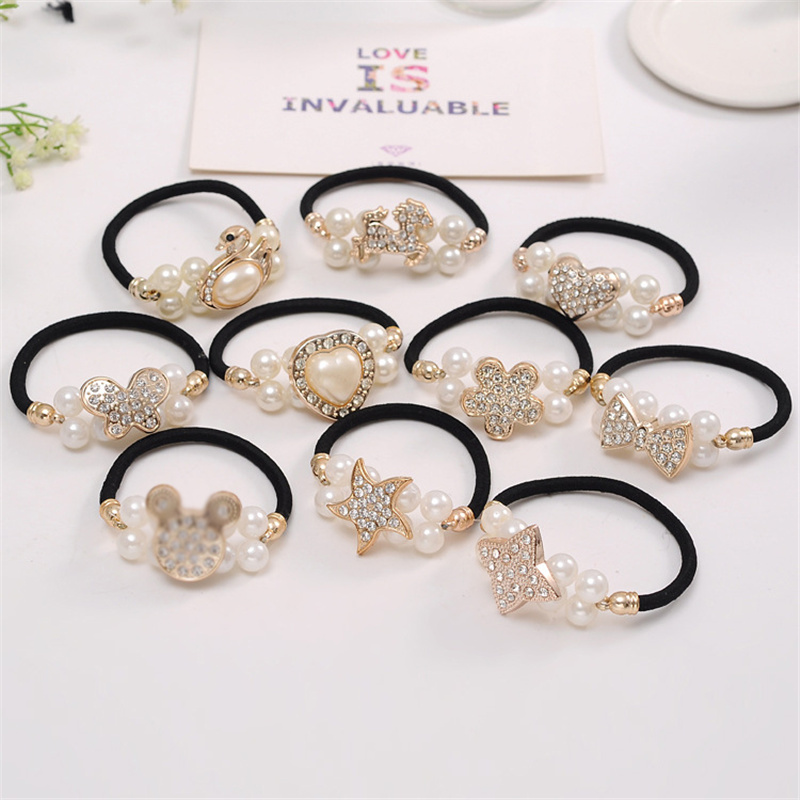 6Pcs/Lot Girls Hair Accessories Pearl Gift Bows Elastic Hair Bands Solid Color Headband Cute Scrunchies Hair Bands For Women