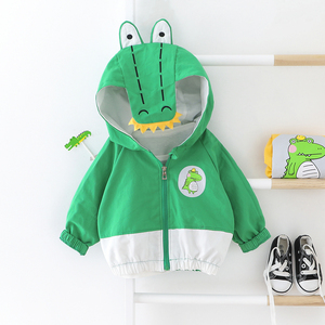 Criança com capuz casaco de crocodilo para o bebê meninos meninas novela trench jacket pequena criança proteção solar roupas 2 cores retalhos topo
