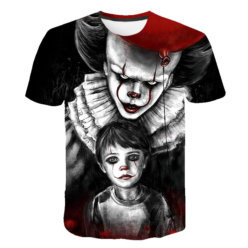 2019 Hot Sale Joker 3D Printed T Shirt Men Women IT Clown Horror Movie Casual Funny T-shirts Hip Hop Streetwear T Shirt Tee Tops
