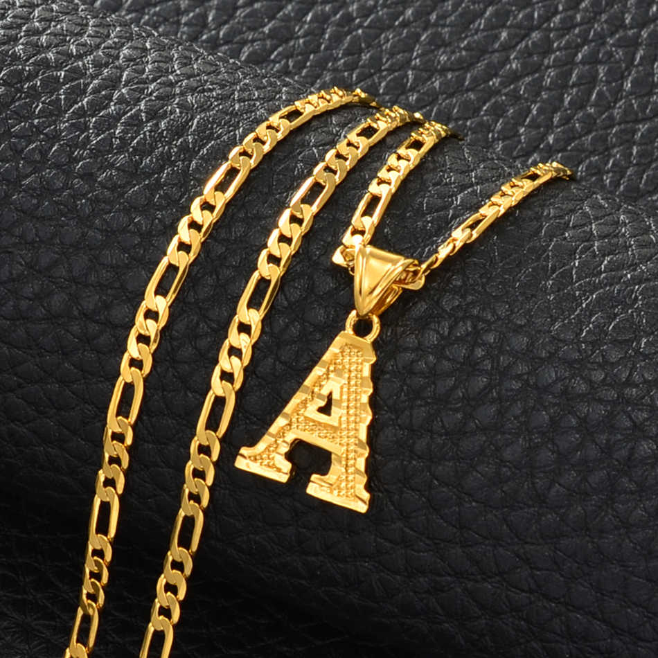 Anniyo A-Z Letters Pendant Necklaces for Women Men Girls English Initial Alphabet Figaro Chains Gold Color Jewelry #058002S