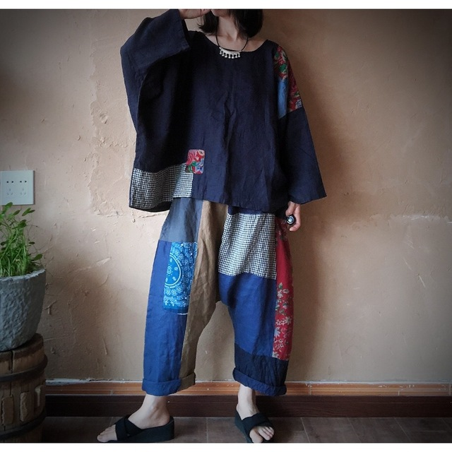 Women Linen  Patchwork Plus Size Blouse Tops Ladies Vintage Flax Spliced Oversize Shirts Female 2020 Summer Autumn Blouses 3