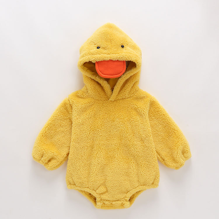 Foshan Childrenswear Autumn And Winter Infants Thick Crawling Clothes Hooded Long Sleeve Cute Onesie Small Yellow Duck Pullover