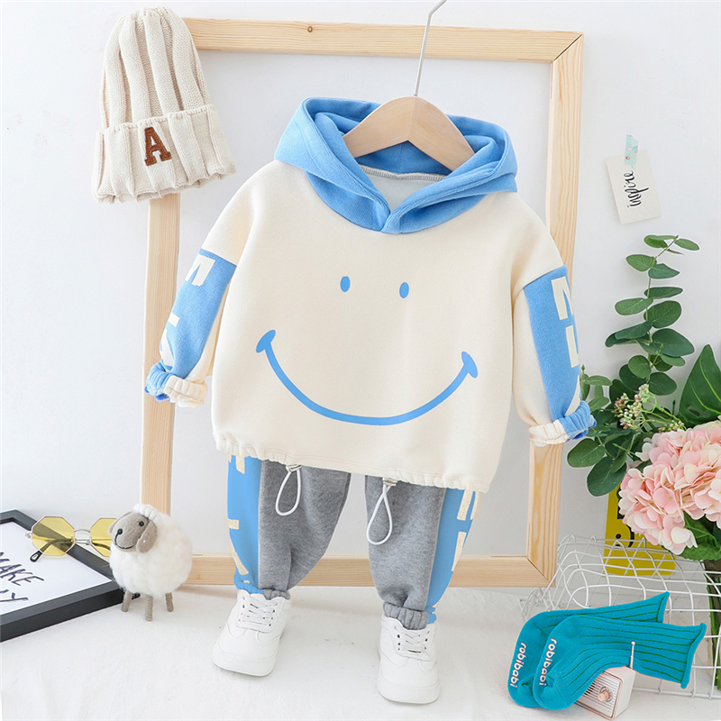 HYLKIDHUOSE Toddler Infant Clothes Suits 2019 Autumn Baby Girls Boys Clothing Sets Plush Warm Tops Pants Child Kids Costume