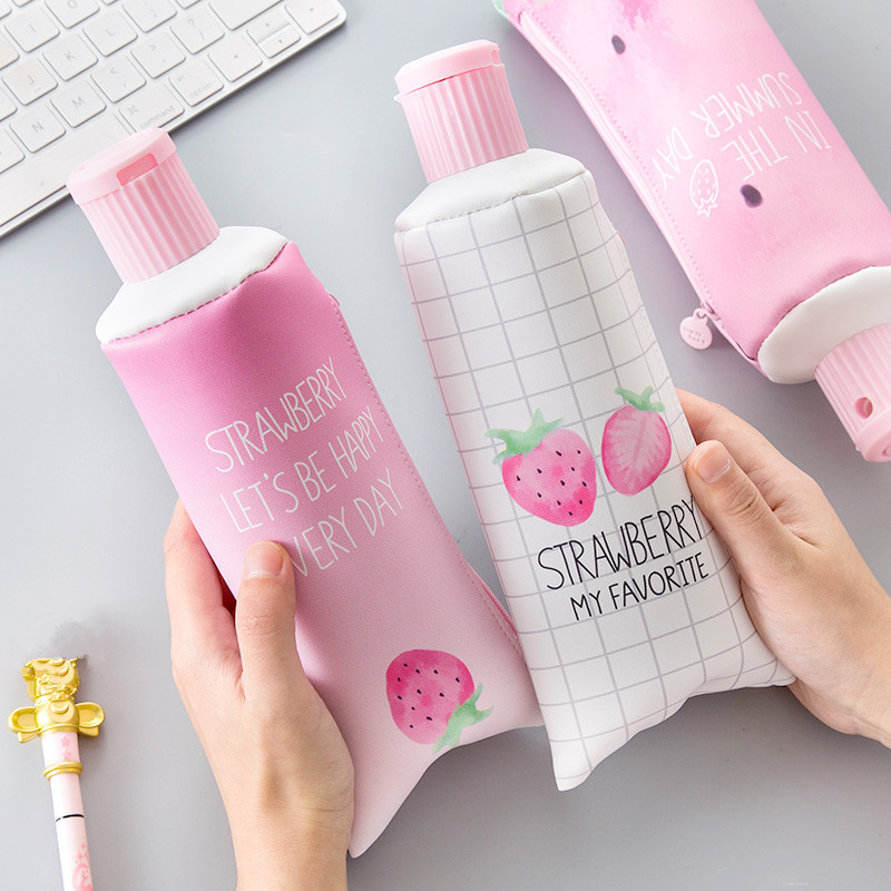 1PC Strawberry Toothpaste PU Pencil Case With Pencil Sharpener Kawaii Stationery Storage Pen Bag For Girl Students Gifts