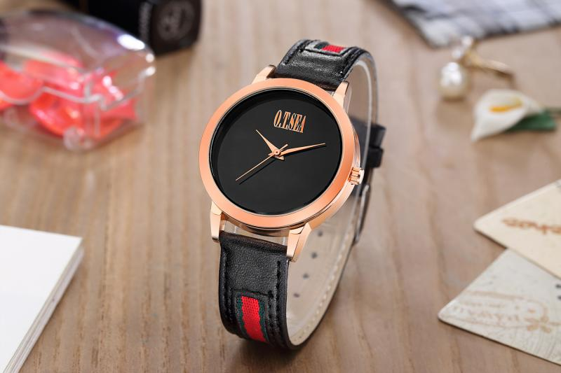 Fashion Leather Strap Women Watch Rose Gold Black Band Quartz Wrist Watches For Ladies Girls Dress Clock Xfcs Relogio Feminino