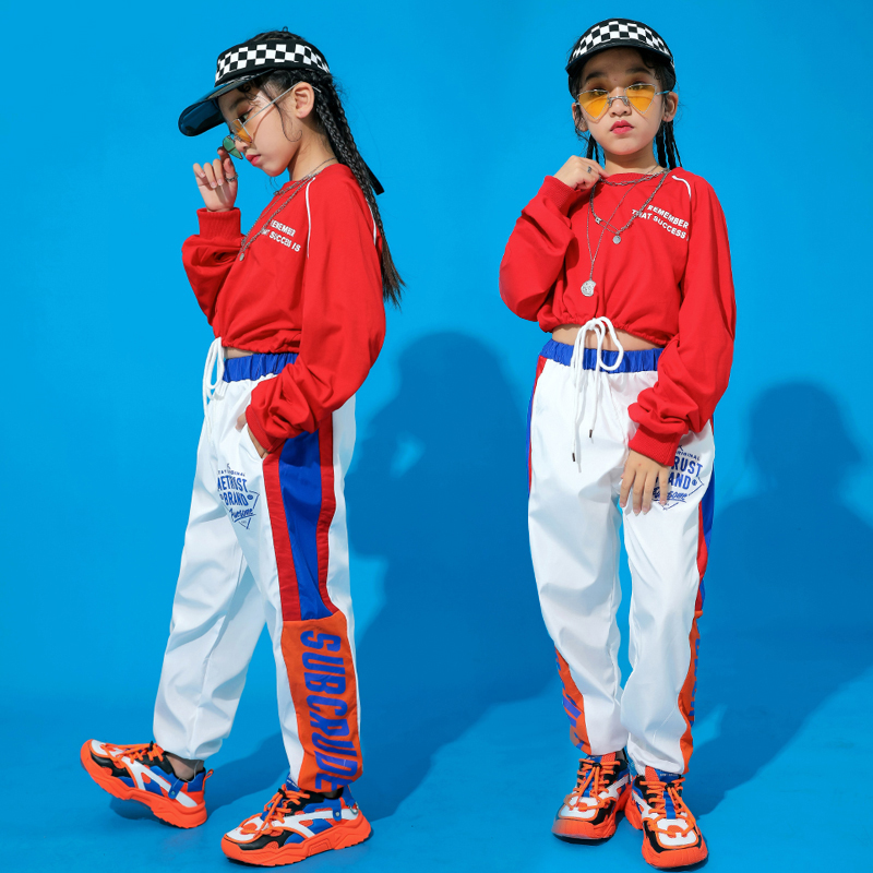 Jazz Dance Costumes For Girls Hip Hop Street Dance Stage Rave Outfit Red White Dancing Practice Wear Performance Clothes DC2886