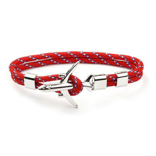 2019 Summer Charm Survival Rope Chain Airplane Anchor Bracelets For Women Multilayer Braid Bracelet Men Trendy Jewelry Gifts(China)