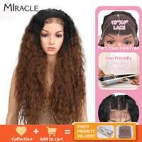 Miracle-peluca con malla frontal sintética para mujer peluca larga de Cosplay, pelo de bebé con malla frontal, pelo Afro sintético para mujer negra