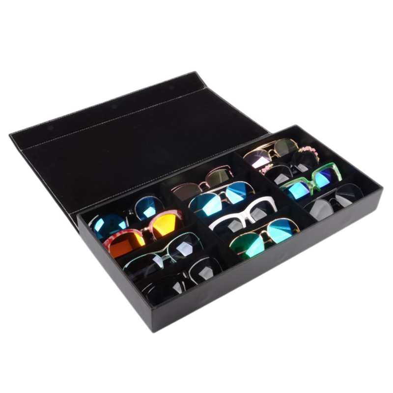 12-Slot Plaid Jewelry Sunglasses Glasses Storage Box Eyes Wear Display Tray Watch Storage Bag PU Leather Gifts