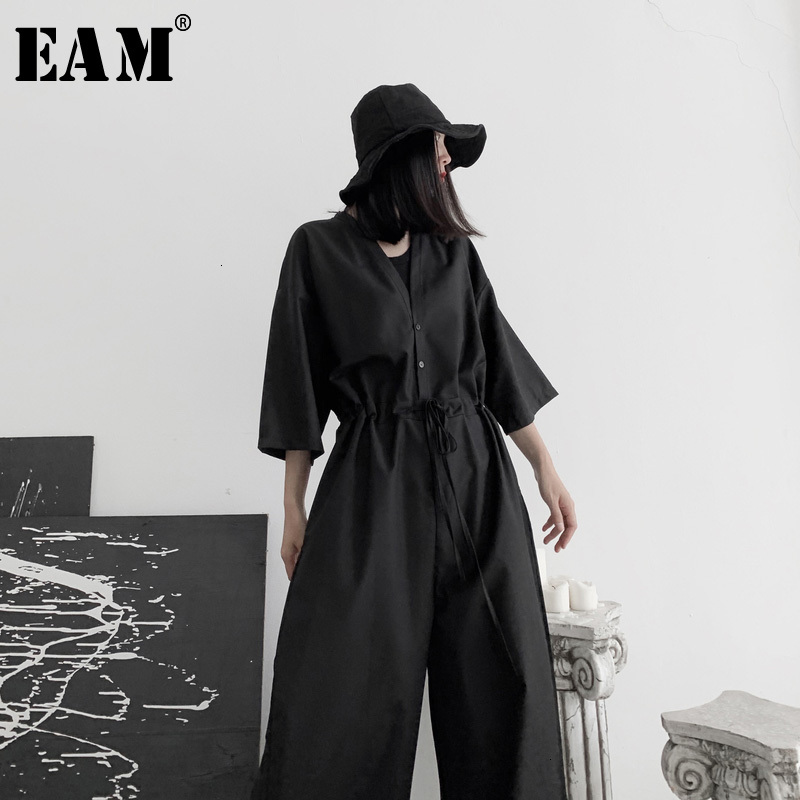 [EAM] Loose Fit Women Black Long Wide Leg Jumpsuit New High Waist Pocket Stitch  Pants Fashion Tide Spring Autumn 2020 19A-a631