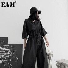 [EAM] Loose Fit Women Black Long Wide Leg Jumpsuit New High Waist Pocket Stitch