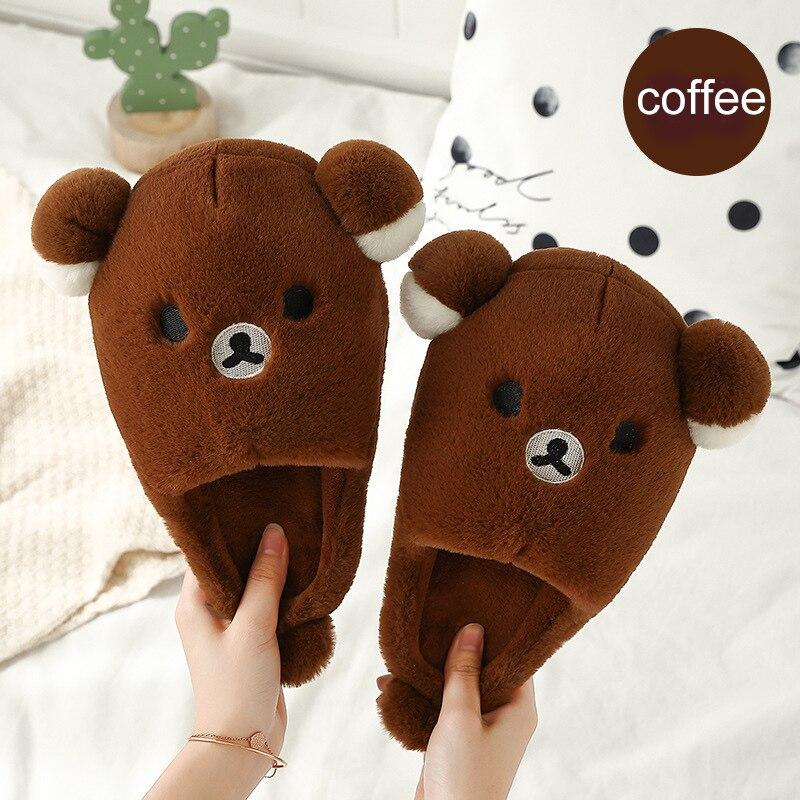 Womans Winter Slippers Home Big Size 43-45 TPR Plush Soft Fur Woman Lovely Bear Pattern Women Flat