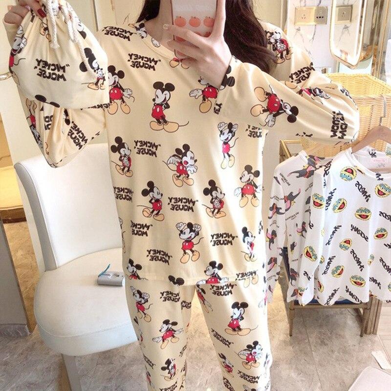 Korean Pjs Women Pajamas Sets Winter Long Sleeve Cartoon Mickey Print Cute Plus Size Home Pijamas Mujer Leisure Pyjama Femme