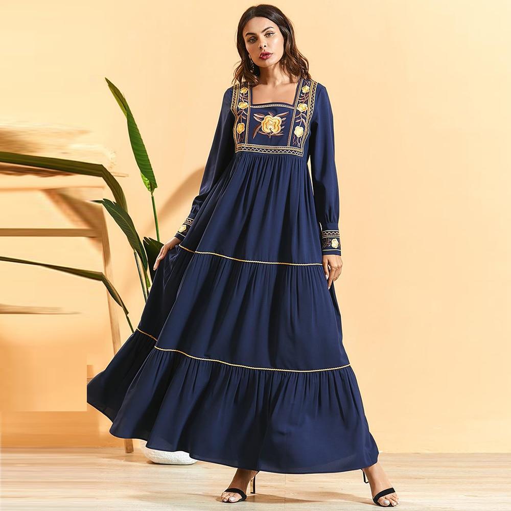 Ramadan Eid Mubarak Embroidery Abaya Turkey Hijab Muslim Dress Kaftan Mujer Islamic Clothing Dresses Abayas For Women Caftan