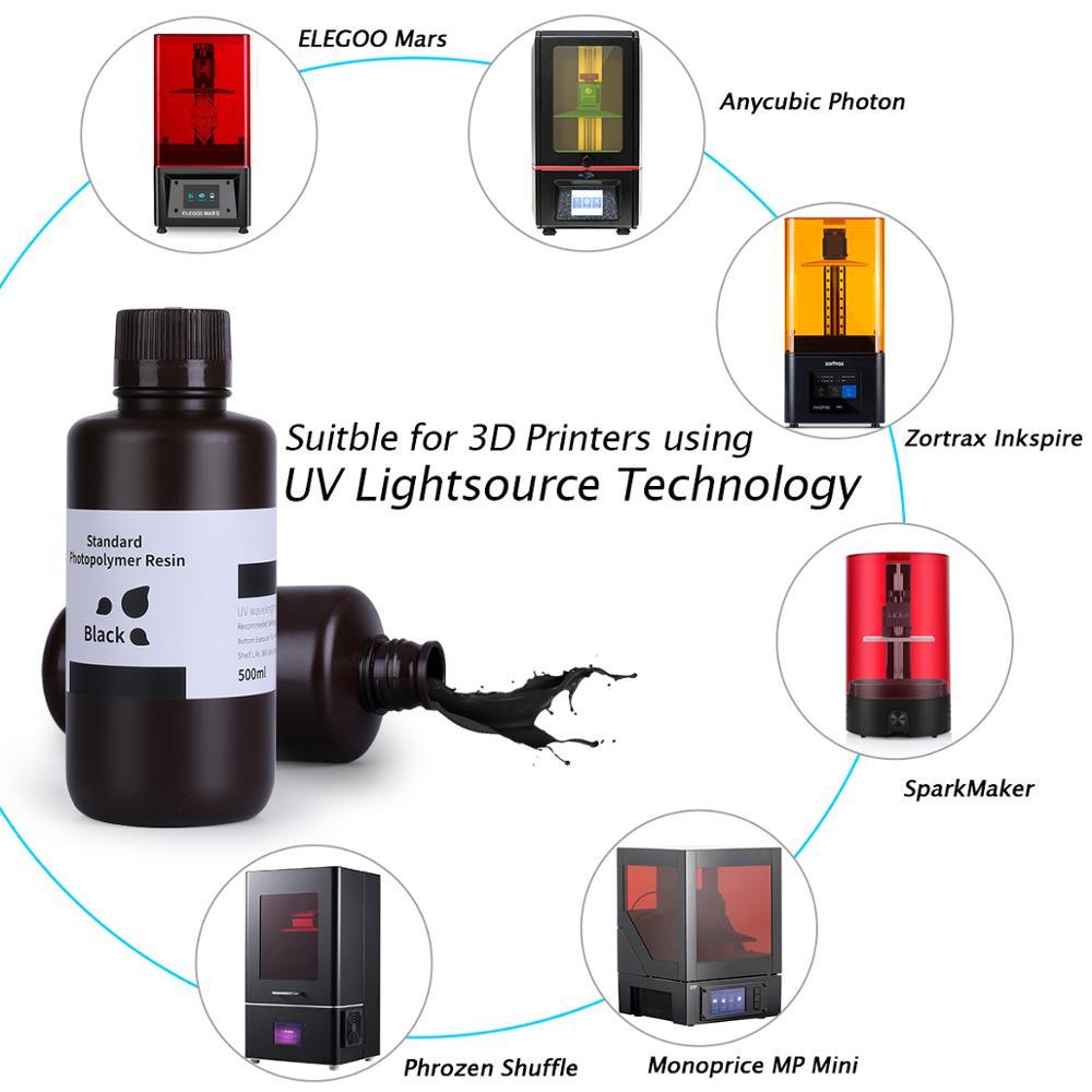 ELEGOO черный/серый/белый/3D-принтеры смолы ЖК-дисплей УФ-отверждения смолы 405nm Стандартный фотополимерные смолы для ЖК-дисплей 3D печати 500 мл