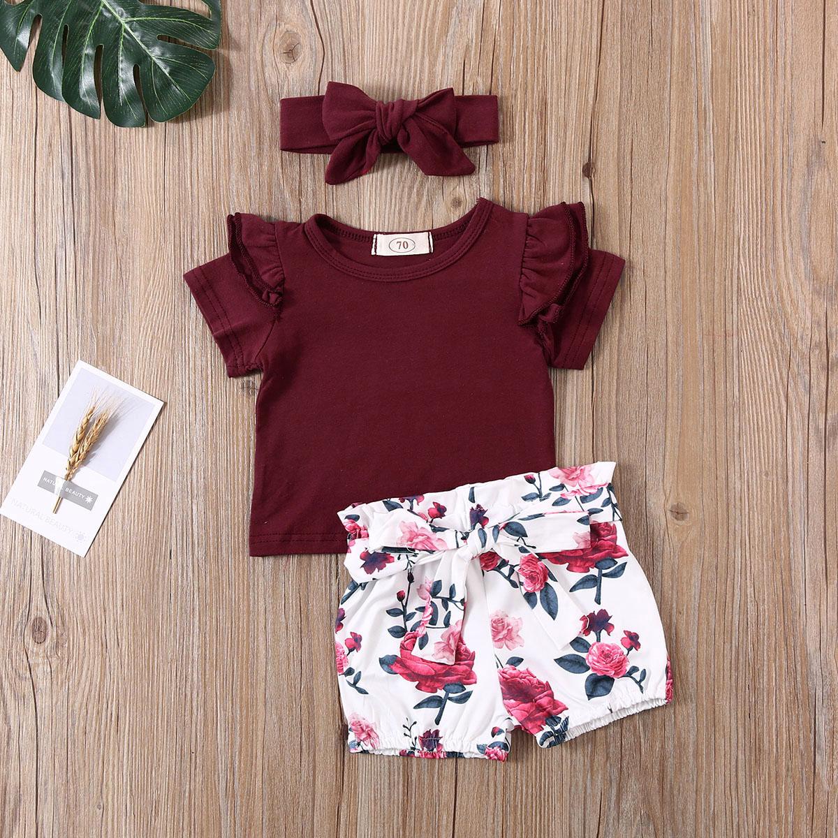 Toddler Baby Girl Short Pants Floral Ruffle Sleeve Dress Romper Shorts Headband 3PCS Summer Clothes Outfits