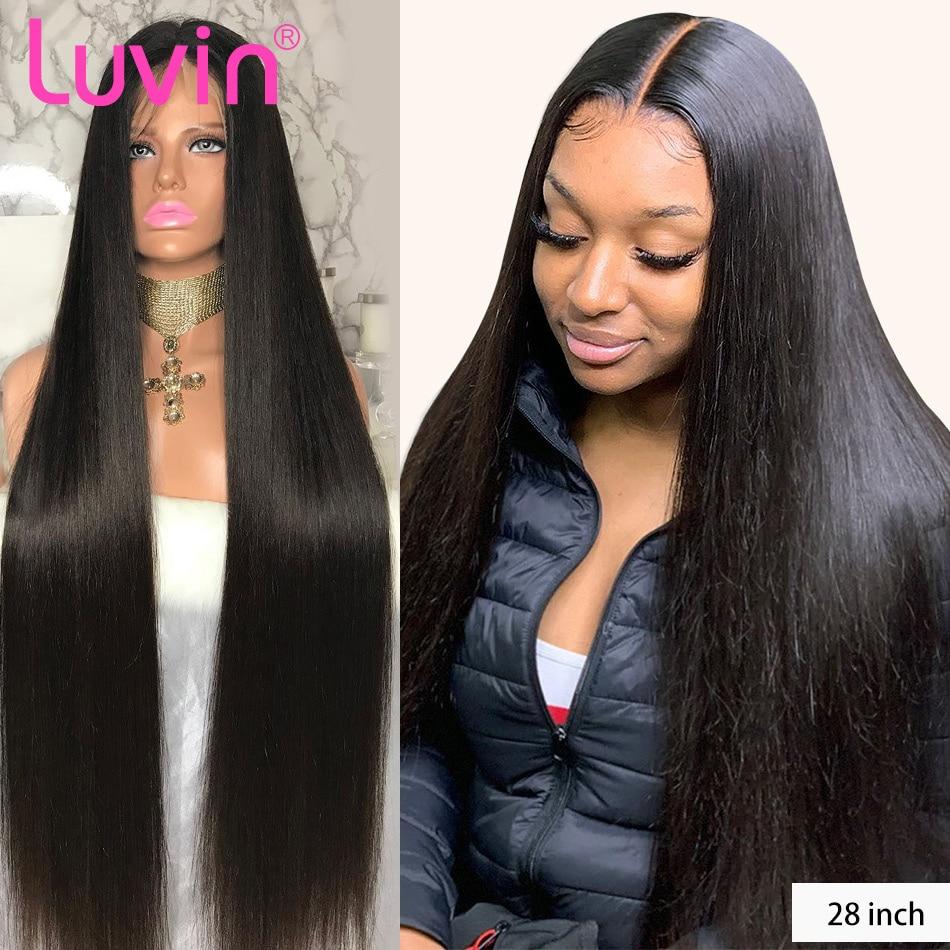 Luvin 180 densidade 26 28 30 40 Polegada reta frente do laço glueless perucas de cabelo humano para as mulheres brasileiro peruca frontal pré arrancadas