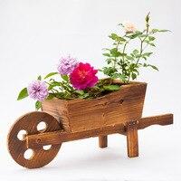 Creative wooden carts flowerpots plants potted window decorations planter succulents pot planter bonsai pot succulents plants