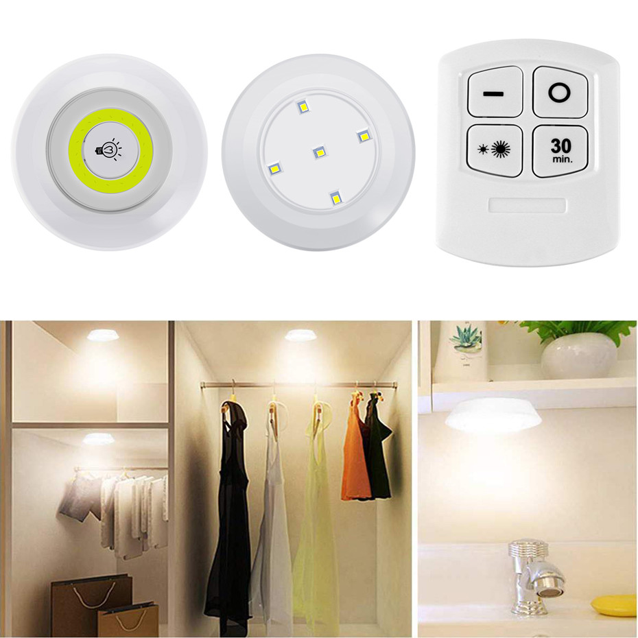 Dimmable Mini LED Under Cabinet Lighting With Remote Control Battery Operated Closet Light Wall Light Stick On Lights