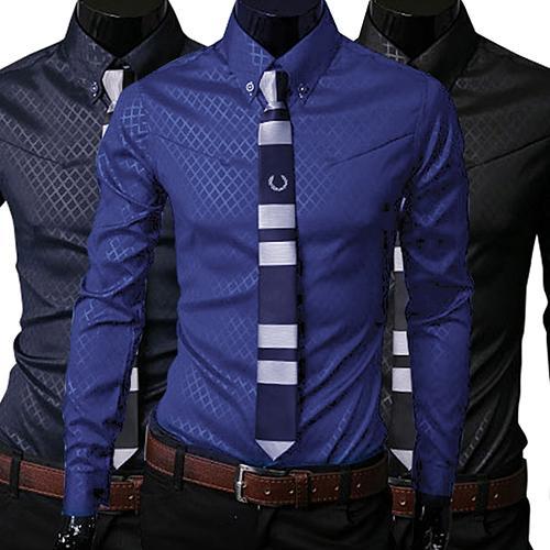2019 Fashion Men Argyle Luxury Business Style Long Sleeve Casual Dress Shirt Business Style Slim Fits Long Sleeve Casual Shirt